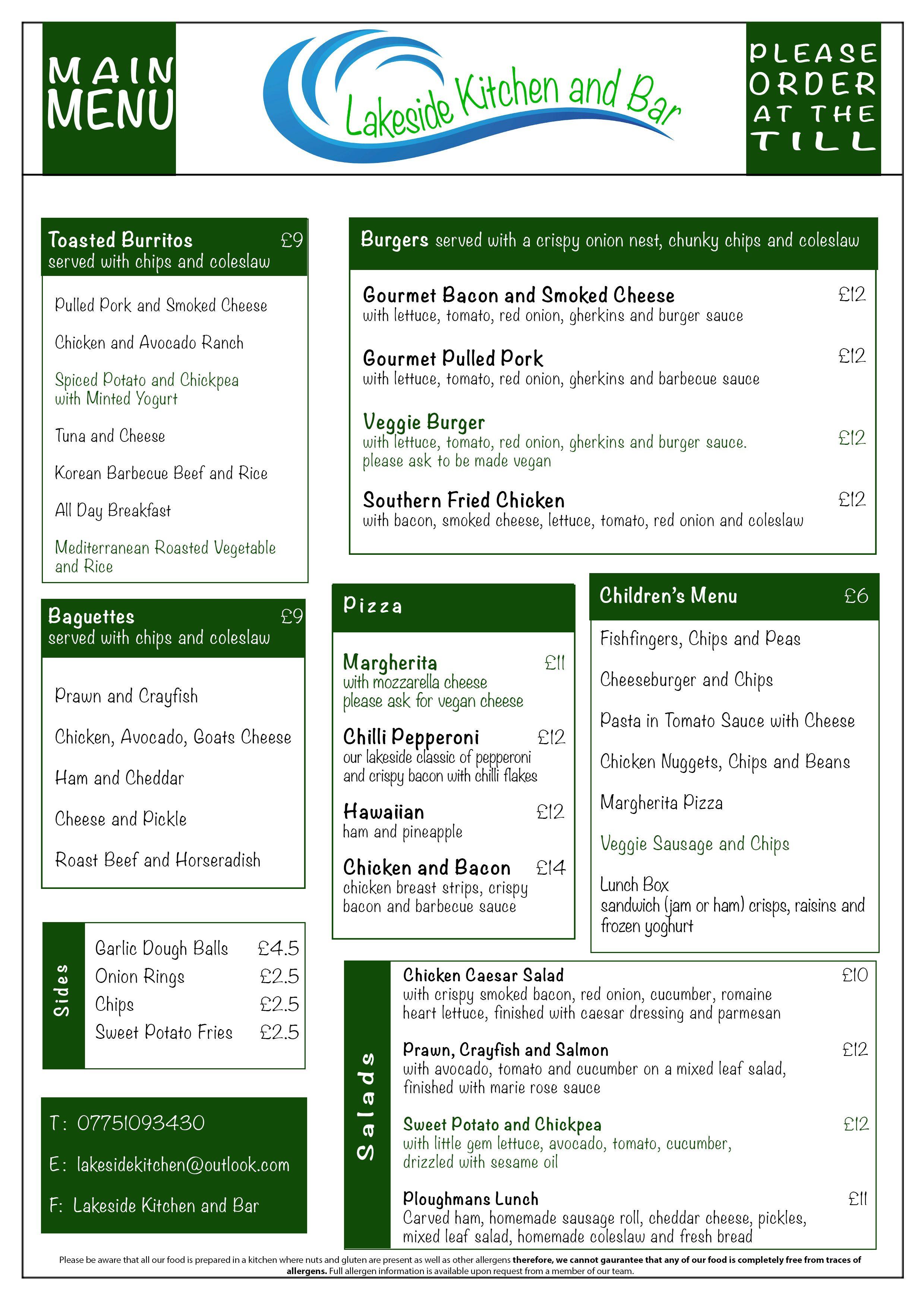 Lakeside Kitchen Main menu